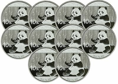 Lot of 10 - 2017 30 gram Silver Chinese Panda .999