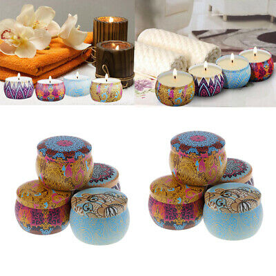 8set Aromatherapy Scented Candle Natural Soy Wax Portable Travel Tin Candle