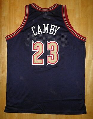 MARCUS CAMBY Reebok Authentic DENVER NUGGETS Blue Sewn Jersey - Adult Size  54 a7f8d8185