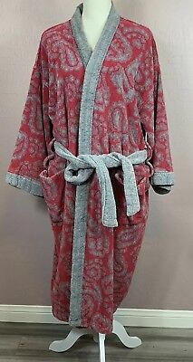 Vintage Men's Christian Dior Monsieur Robe Red Gray with Tie One Size OS