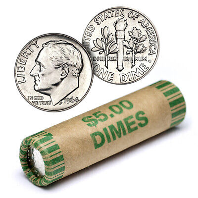 90% Silver Roosevelt Dime Roll - 50 Coins - 90 Percent Silver - FREE SHIP