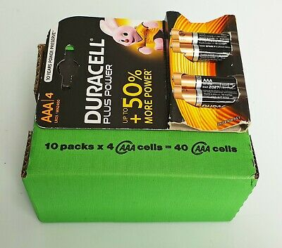 10 PZ Duracell Plus Power AAA/4 Batterie Alcaline MN 2400 1.5V LR03