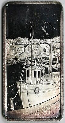 Sea Port ATB Hamilton Mint .999 Fine Silver Art Bar - 1 Troy oz (Color)