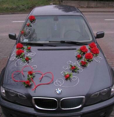 Wedding Car Decoration Kit Set red hearts flowers and FREE ribbon bows for door