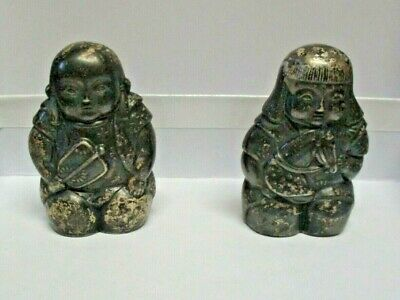 RARE Immortal Japanese gods Shichifukujin 950 Sterling Silver Salt & Pepper 925