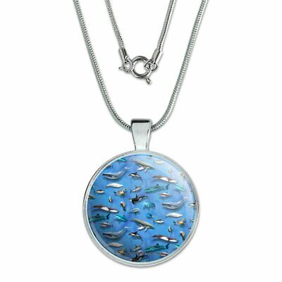 """Ocean Life Whale Dolphin Manatee Shark Pattern 1"""" Pendant w/ Silver Plated Chain"""
