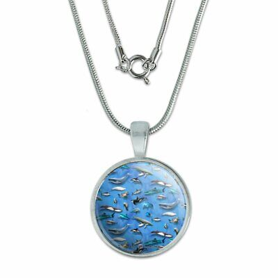 """Ocean Life Whale Dolphin Shark Pattern 0.75"""" Pendant w/ Silver Plated Chain"""