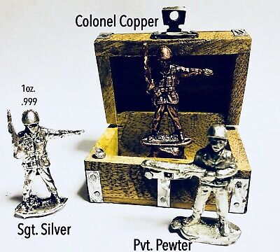 1 oz. Silver Hand Poured Soldiers .999 Fine Copper Pewter Soldiers Treasure Box