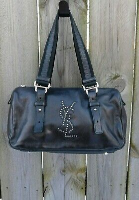 e0a5efc21529 YVES SAINT LAURENT YSL Black Leather Studded Logo RIVE GAUCHE Kahala Bag   RARE