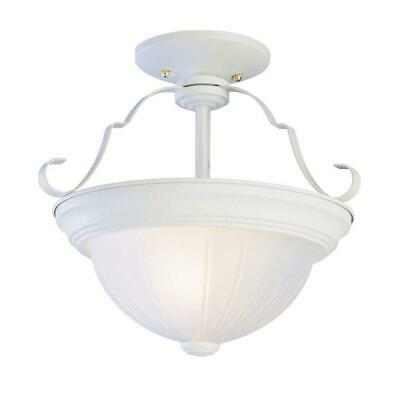 Trans Globe  Antique White 2-Light Semi Flush Mount with Frosted Melon Glass