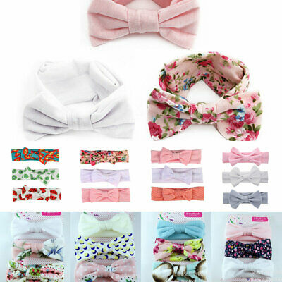 3PCs Set Handmade Kid Newborn Baby Toddler Girls Cotton Bow Headband Headwrap