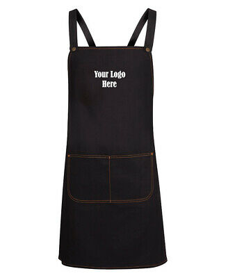 JB's wear 100% Cotton Stylish Denim BIB Apron with One Custom Embroidery Logo