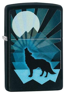 Zippo Windproof Lighter With Howling Wolf and Moon, 29864, New In Box