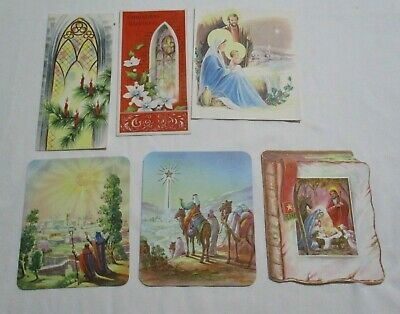 Vintage Mid Century Religious Christmas Cards Lot of 6 Assorted Cards NOS