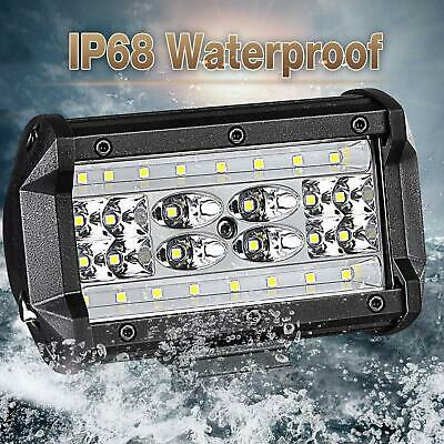 Pair 5inch 168W CREE LED Work Driving Light Bar Flood Beam Offroad Boat Truck