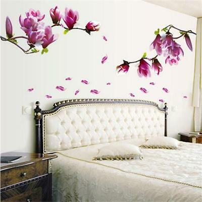 Spring Giant Magnolia Flowers Tree Wall Sticker Decals art paper Decor Mural JA