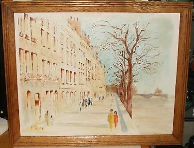 H.rose Paris Street Scene Oil Canvas Vintage Painting