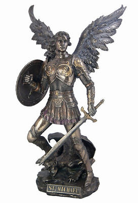 St. Michael Archangel Standing On Demon Sculpture Statue Figurine HOME DECOR
