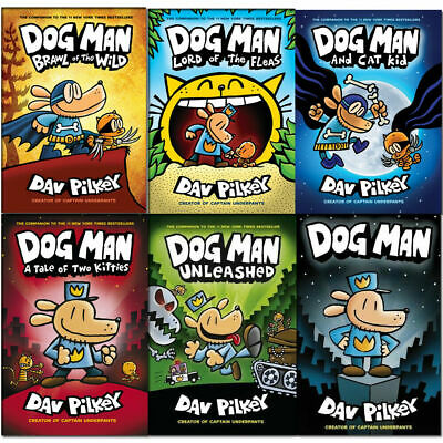 Dav Pilkey Adventures of Dog Man 1-6 Books Collection Set New Brawl of the Wild