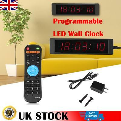 Programmable LED Crossfit Interval Timer Wall Clock Remote For Tabata Fitness UK