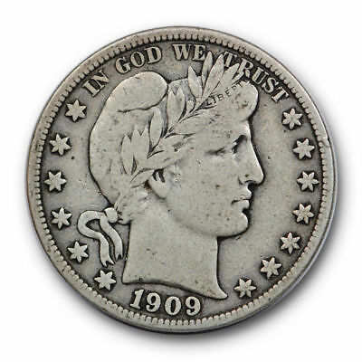 1909 S 50C Barber Half Dollar Very Fine to Extra Fine Toned #8998