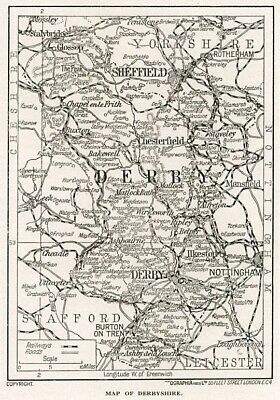 1923 map of England: county of Derbyshire antique ready-mounted print SUPERB