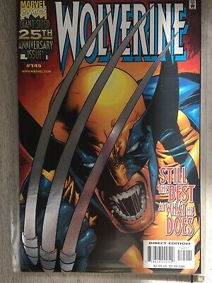 WOLVERINE #145 25th ANNIVERSARY ISSUE SILVER FOIL VARIANT COVER! 1999