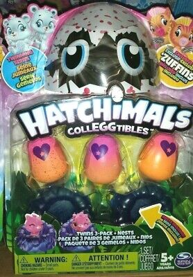 Hatchimals Colleggtibles Twins 3-pack + Nests Twinning Series Playset - NEW