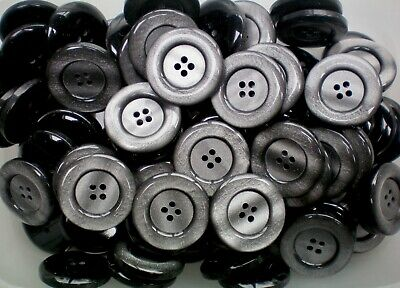 Large 30mm 48L Light Smoke Grey Pearlescent Polished 4 Hole Coat Buttons Q309
