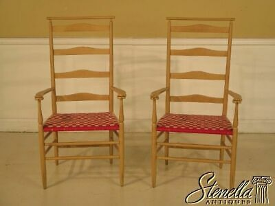43092: Pair NICHOLS & STONE Shaker Style Ladder Back Arm Chairs