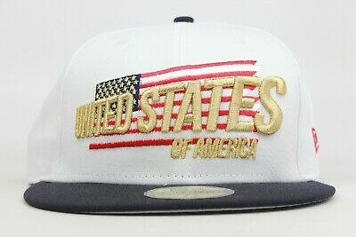 United States of America USA US White Navy Gold Red New Era 59Fifty Fitted Hat
