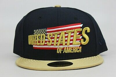 United States of America USA US Navy Gold Red White New Era 59Fifty Fitted Hat N