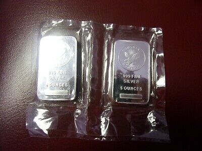 5 oz Sunshine Mint Silver Bar, Mint Mark SI, Sealed in Plastic