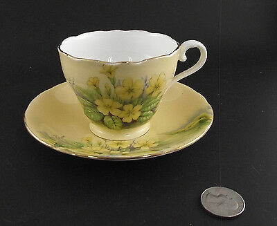 Aynsley Yellow Floral Antique Cabinet Tea Cup And Saucer
