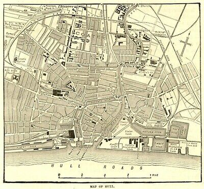Map of Hull , antique engraving ready mounted, 1880s SUPERB