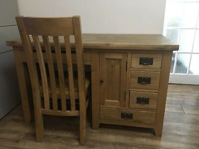Listers Solid Oak  Office Computer. Writing Study Desk And Chair Designer