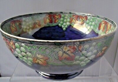 Maling Pottery Lustre Fruit Bowl Butterfly Grapes Leafs Newcastle On Tyne