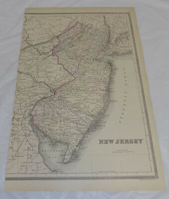 1884 Antique COLOR Map///NEW JERSEY, Published by William Bradley