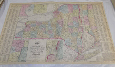 """1856 Antique COLOR Map///NEW YORK, Published by Desilver, Size about 17x26.5"""""""