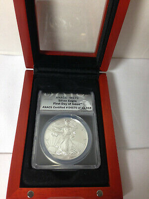 2018 Silver American Eagle $1 Coin ANACS MS70 First Day Issue W/wood box display