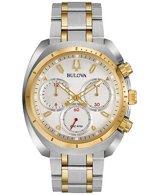 *BRAND NEW* Bulova Men's Two Stainless Steel Bracelet Silver Dial   Watch 98A157