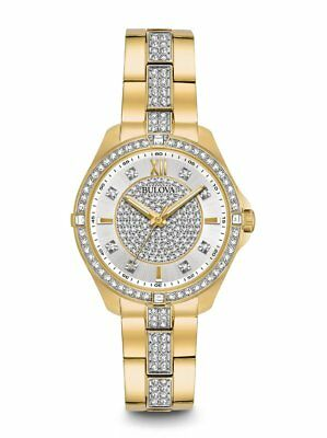 *BRAND NEW* Bulova Women's Crystals Gold Tone Stainless Steel Case Watch 98L228