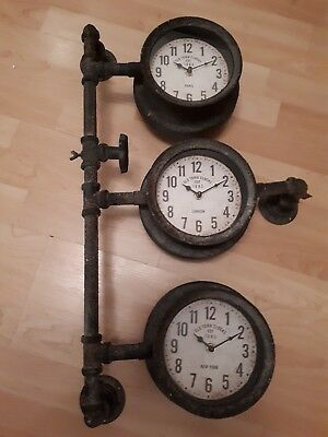 "Industrial 27"" High Pipe Clock Retro Wall Clock Rustic 3 Times Zones Vintage"