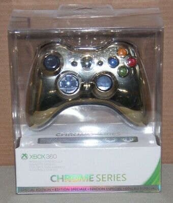 Microsoft Xbox 360 Special Edition Chrome Series Gold Wireless Controller - NEW