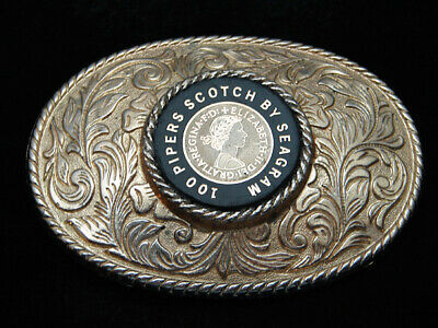 QL25102 VINTAGE 1970s **100 PIPERS SCOTCH BY SEAGRAM** BOOZE BELT BUCKLE