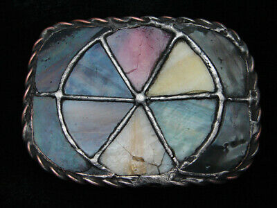QL25124 VINTAGE 1970s **MULTI-COLOR STAINED GLASS** ART FASHION BELT BUCKLE