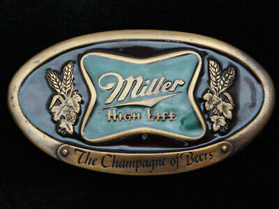 Qc11147 *Nos* Vintage 1975 *Miller High Life The Champagne Of Beers* Belt Buckle