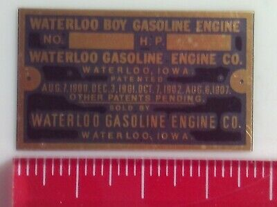 1/2 scale Waterloo Boy Model Engine Nameplate for Hit and Miss name tag