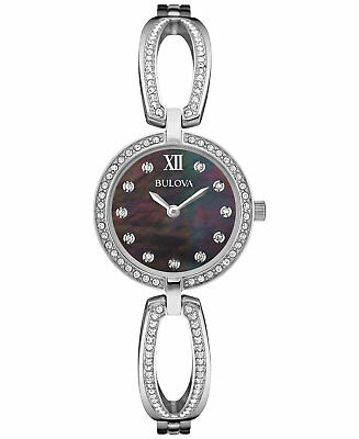 *BRAND NEW* Bulova Women's Crystal Accent Stainless Steel Bangle  Watch 96L224