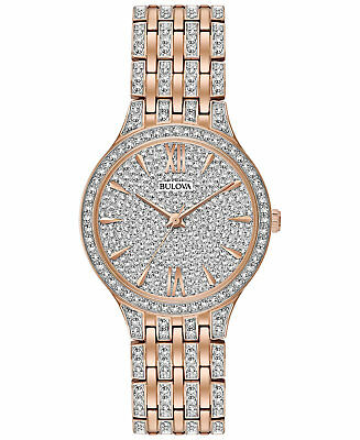 *BRAND NEW* Bulova Women's Crystal Accented Rose Gold Tone Steel Watch 98L235